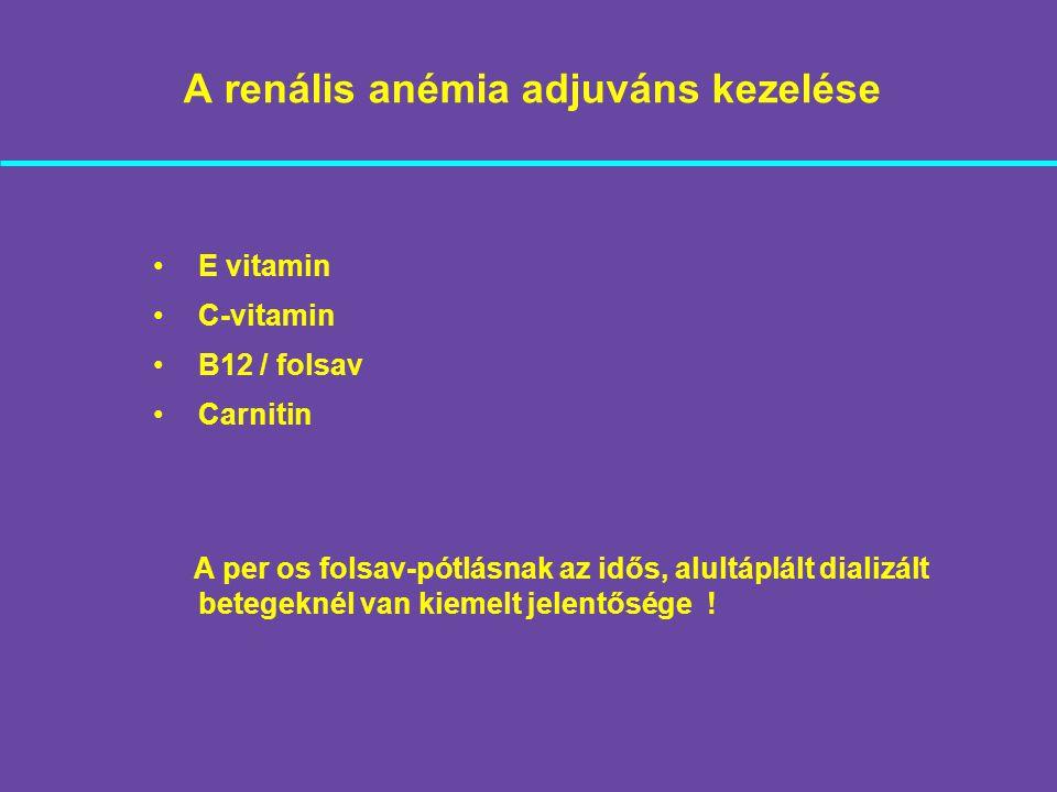 A renális anémia adjuváns kezelése E vitamin C-vitamin B12 / folsav Carnitin A per os folsav-pótlásnak az idős, alultáplált dializált betegeknél van k