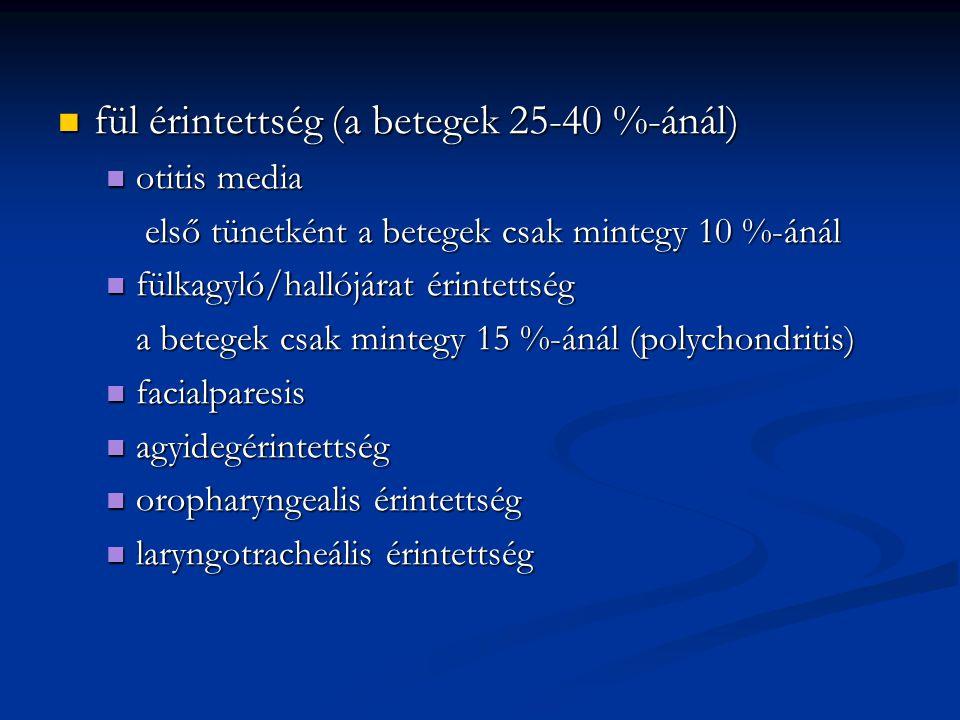 nem szűnő fájdalom, emelkedő labor értékek (CRP: 109 mg/L,We: 79 mm/ó, fvs:10 000, vvt: 3,26) nem szűnő fájdalom, emelkedő labor értékek (CRP: 109 mg/L,We: 79 mm/ó, fvs:10 000, vvt: 3,26) rifampicin, clindamycin, carbamazepin, fentanyl, morphinum HCl, nalbuphin adása mellett két hét múlva újabb reoperatio, necrectomia két hét múlva újabb reoperatio, necrectomia állapota nem változott, fájdalmai nem csökkentek állapota nem változott, fájdalmai nem csökkentek cervicalis és hátsó scala CT vizsgálatok kiterjedt csontdestrukciót igazoltak, halmozó tályogot nem cervicalis és hátsó scala CT vizsgálatok kiterjedt csontdestrukciót igazoltak, halmozó tályogot nem