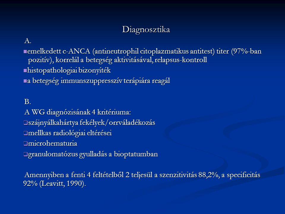 Kezelés Konzervatív terápia glükokortikoidok és cyclophosphamid kombinációja glükokortikoidok és cyclophosphamid kombinációja Teljes remisszió/jelentős javulás az esetek több mint 90%-ában Fenti terápia mellett a relapsusincidncia 50% körüli, a gyógyszer- toxicosis kb.
