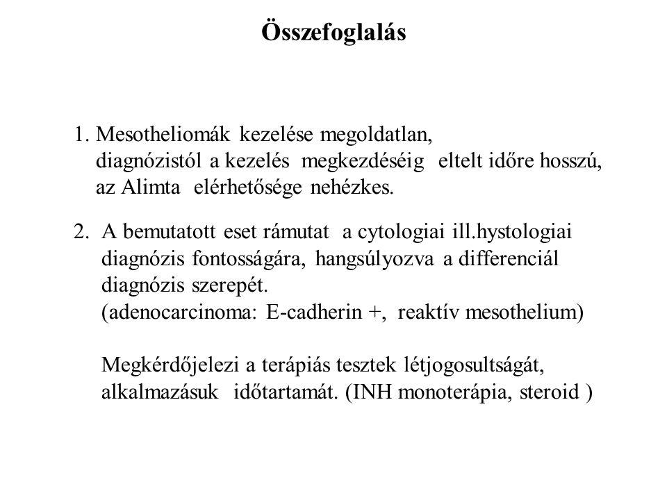 Összefoglalás 1. Mesotheliomák kezelése megoldatlan, diagnózistól a kezelés megkezdéséig eltelt időre hosszú, az Alimta elérhetősége nehézkes. 2. A be