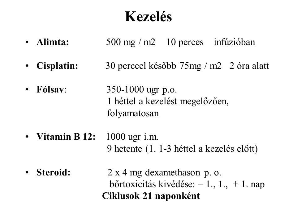 Kezelés Alimta: 500 mg / m2 10 perces infúzióban Cisplatin: 30 perccel később 75mg / m2 2 óra alatt Fólsav: 350-1000 ugr p.o. 1 héttel a kezelést mege