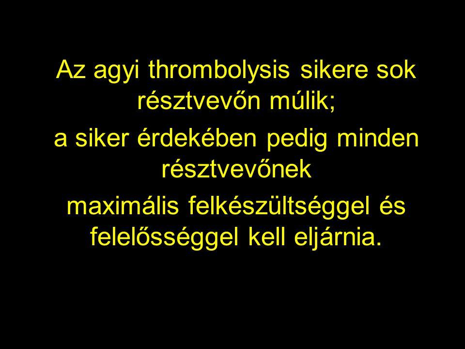 Az agyi thrombolysis sikere sok résztvevőn múlik; a siker érdekében pedig minden résztvevőnek maximális felkészültséggel és felelősséggel kell eljárni