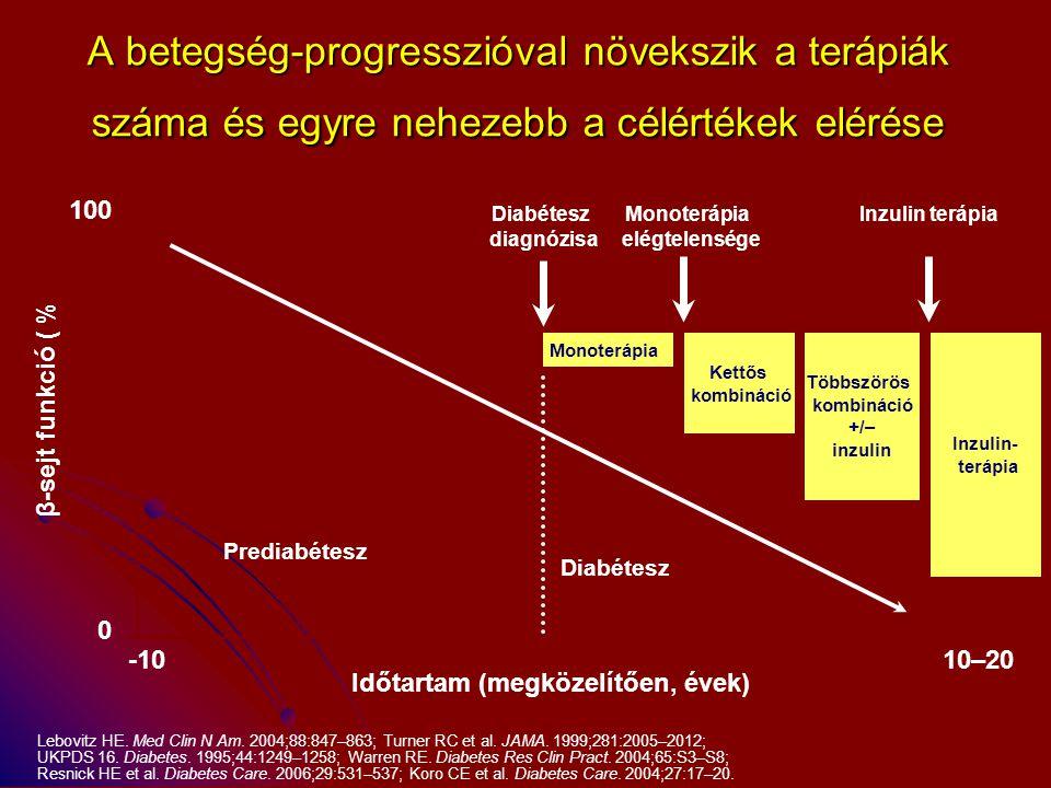 A betegség-progresszióval növekszik a terápiák száma és egyre nehezebb a célértékek elérése Lebovitz HE. Med Clin N Am. 2004;88:847–863; Turner RC et