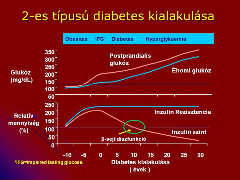 2-es típusú diabetes kialakulása 0 50 100 150 200 250 -10-5051015202530 Diabetes kialakulása ( évek ) Glukóz (mg/dL) Relatív mennyiség (%) Inzulin Rez