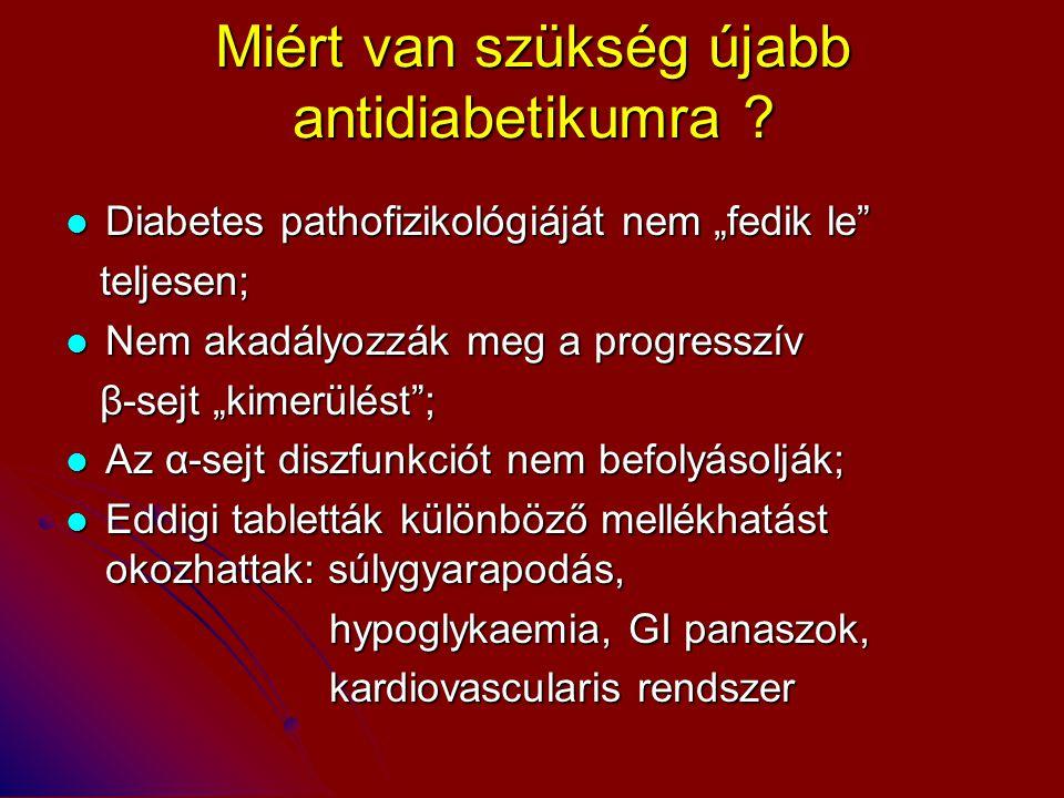 """Miért van szükség újabb antidiabetikumra ? Diabetes pathofizikológiáját nem """"fedik le"""" Diabetes pathofizikológiáját nem """"fedik le"""" teljesen; teljesen;"""
