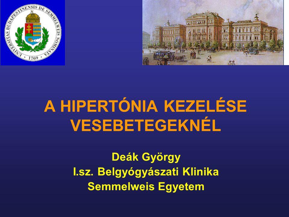 A HIPERTÓNIA KEZELÉSE VESEBETEGEKNÉL Deák György I.sz. Belgyógyászati Klinika Semmelweis Egyetem