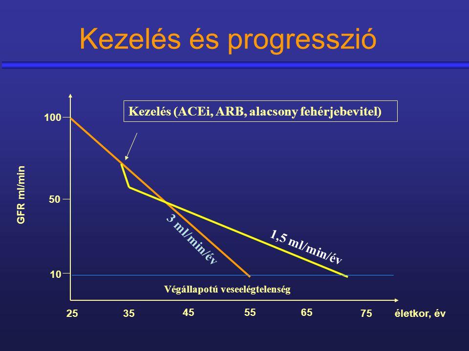 Kezelés és progresszió GFR ml/min életkor, év 100 50 10 25 45 35 5565 75 3 ml/min/év Végállapotú veseelégtelenség 1,5 ml/min/év Kezelés (ACEi, ARB, al