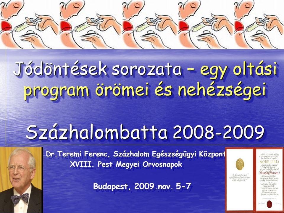 Jódöntések sorozata – egy oltási program örömei és nehézségei Százhalombatta 2008-2009 Dr.Teremi Ferenc, Százhalom Egészségügyi Központ XVIII. Pest Me