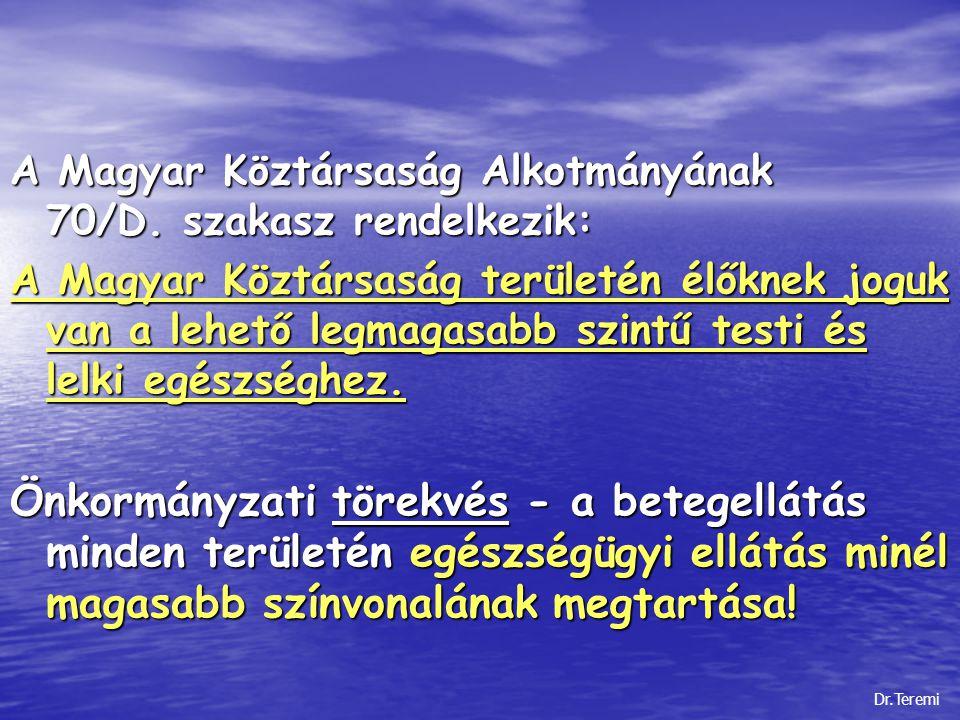 A Magyar Köztársaság Alkotmányának 70/D. szakasz rendelkezik: A Magyar Köztársaság területén élőknek joguk van a lehető legmagasabb szintű testi és le