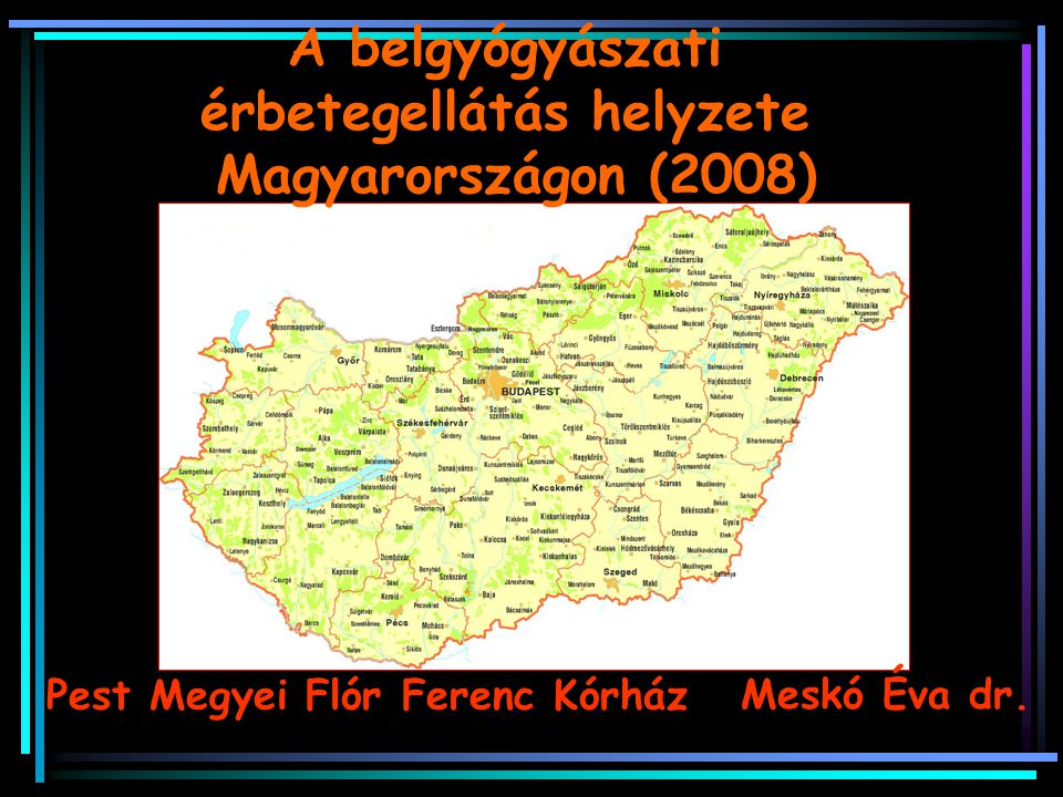 A belgyógyászati érbetegellátás helyzete Magyarországon (2008) Meskó Éva dr. Pest Megyei Flór Ferenc Kórház
