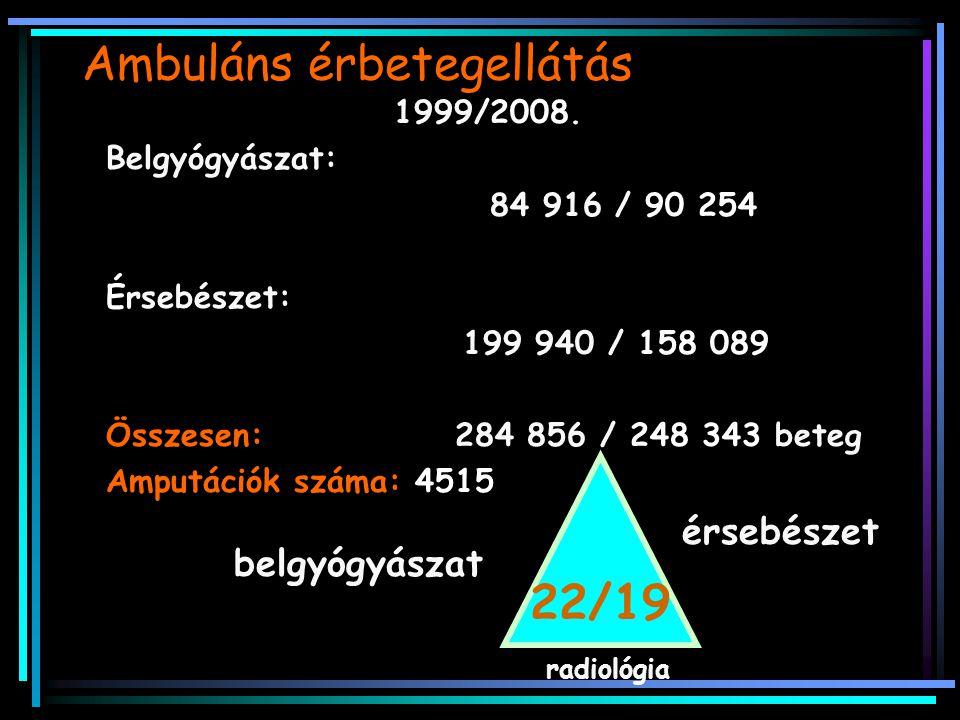 Ambuláns érbetegellátás 1999/2008. Belgyógyászat: 84 916 / 90 254 Érsebészet: 199 940 / 158 089 Összesen: 284 856 / 248 343 beteg Amputációk száma: 45