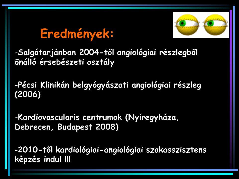 Eredmények: -Salgótarjánban 2004-től angiológiai részlegből önálló érsebészeti osztály -Pécsi Klinikán belgyógyászati angiológiai részleg (2006) -Kard