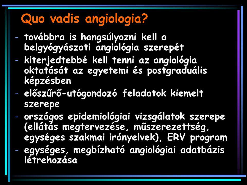 Quo vadis angiologia? -továbbra is hangsúlyozni kell a belgyógyászati angiológia szerepét -kiterjedtebbé kell tenni az angiológia oktatását az egyetem