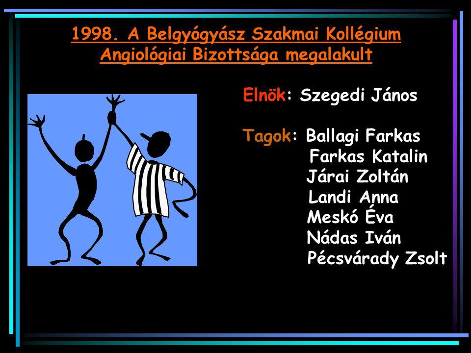 Eredmények: -Salgótarjánban 2004-től angiológiai részlegből önálló érsebészeti osztály -Pécsi Klinikán belgyógyászati angiológiai részleg (2006) -Kardiovascularis centrumok (Nyíregyháza, Debrecen, Budapest 2008) -2010-től kardiológiai-angiológiai szakasszisztens képzés indul !!!
