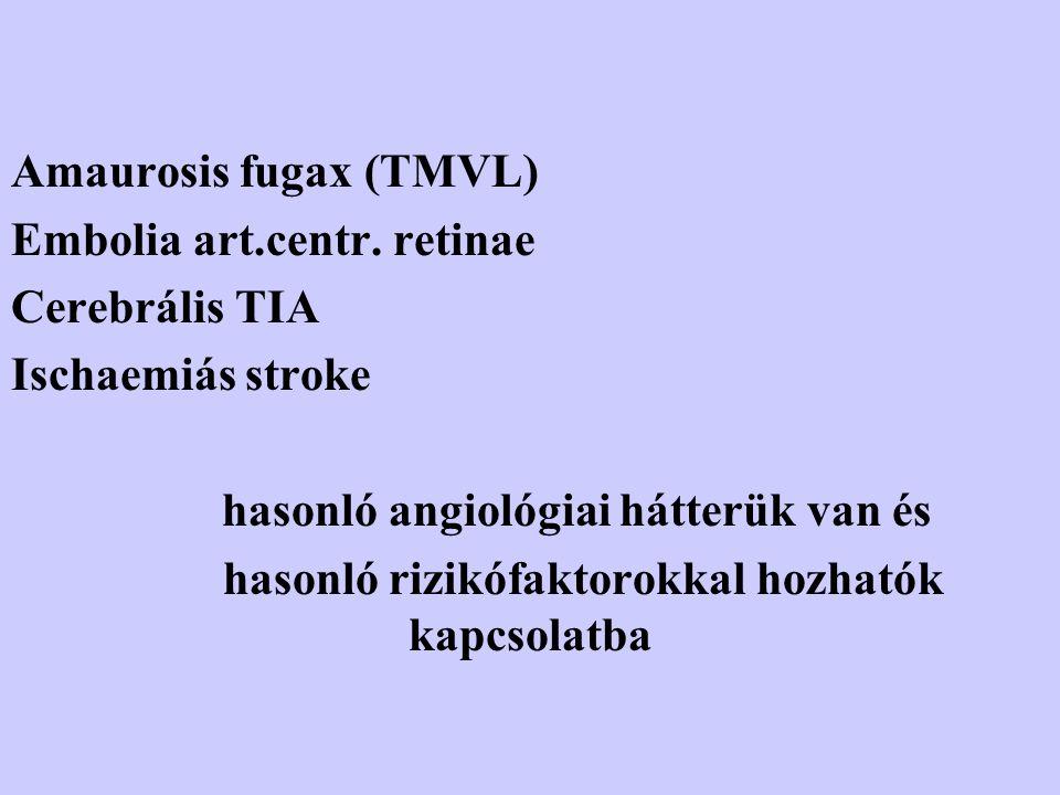 Amaurosis fugax (TMVL) Embolia art.centr. retinae Cerebrális TIA Ischaemiás stroke hasonló angiológiai hátterük van és hasonló rizikófaktorokkal hozha