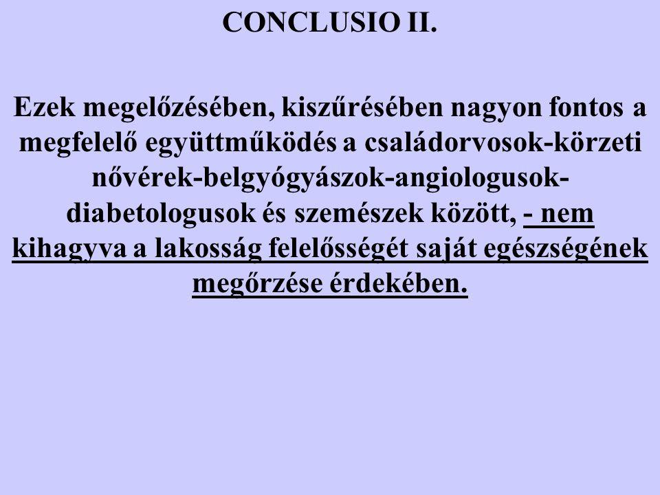 CONCLUSIO II. Ezek megelőzésében, kiszűrésében nagyon fontos a megfelelő együttműködés a családorvosok-körzeti nővérek-belgyógyászok-angiologusok- dia