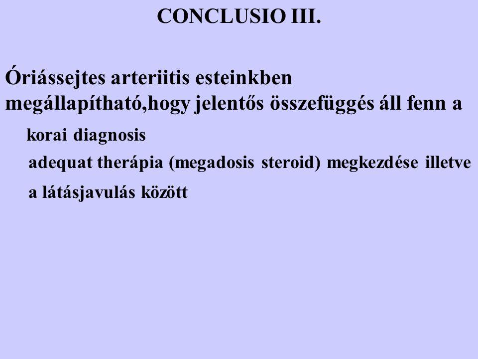 CONCLUSIO III. Óriássejtes arteriitis esteinkben megállapítható,hogy jelentős összefüggés áll fenn a korai diagnosis adequat therápia (megadosis stero