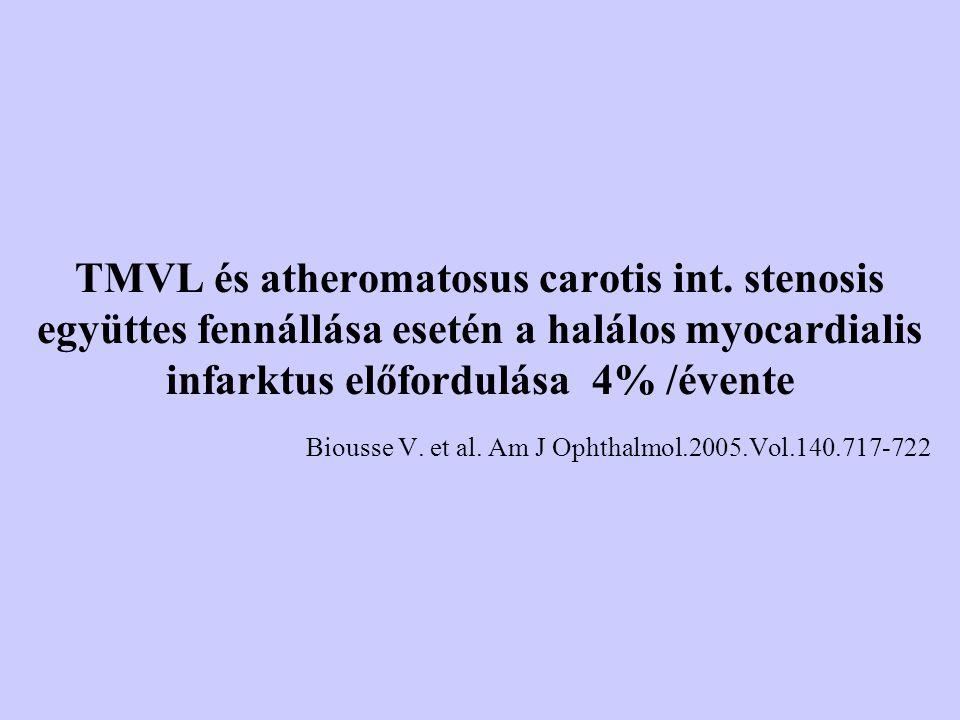 TMVL és atheromatosus carotis int. stenosis együttes fennállása esetén a halálos myocardialis infarktus előfordulása 4% /évente Biousse V. et al. Am J