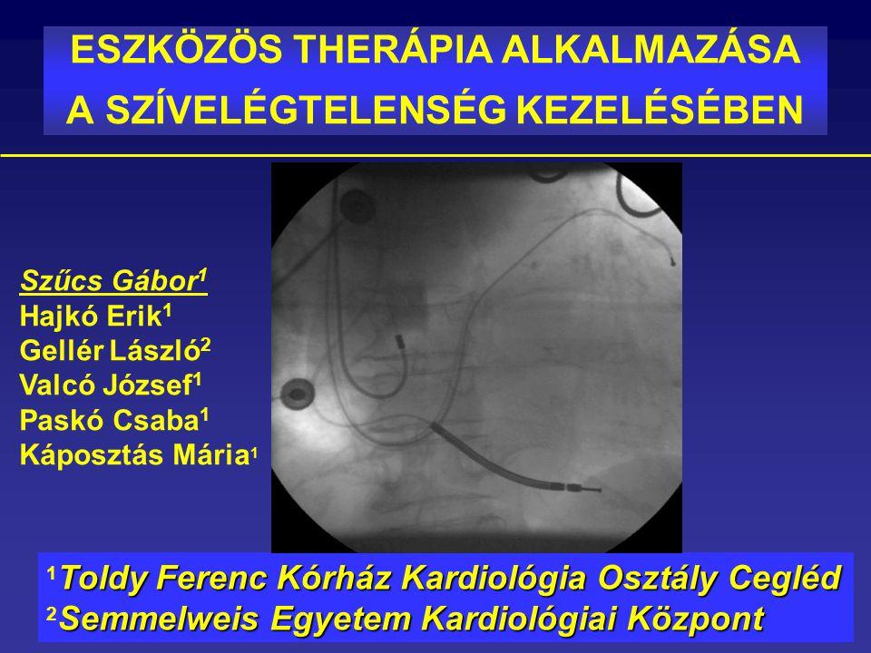 Szívelégtelenség eszközös kezelése Cardialis reszinkronizációs terápia CRTCardialis reszinkronizációs terápia CRT AKUT Intraaortikus ballon pumpa IABP Assist device Implantálható cardialis defibrillátor ICD Assist device KRÓNIKUS