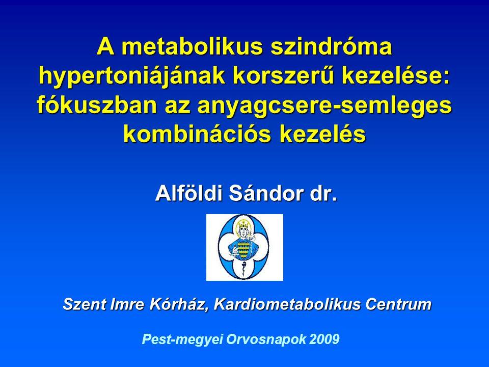 A metabolikus szindróma hypertoniájának korszerű kezelése: fókuszban az anyagcsere-semleges kombinációs kezelés Alföldi Sándor dr. Szent Imre Kórház,