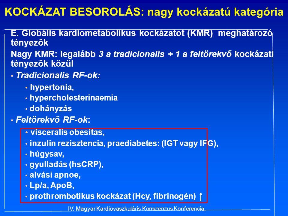 KOCKÁZAT BESOROLÁS: nagy kockázatú kategória E. Globális kardiometabolikus kockázatot (KMR) meghatározó tényezők Nagy KMR: legalább 3 a tradicionalis