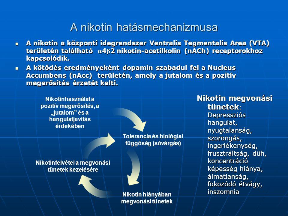 A nikotin hatásmechanizmusa Nikotin megvonási tünetek : Depressziós hangulat, nyugtalanság, szorongás, ingerlékenység, frusztráltság, düh, koncentráci
