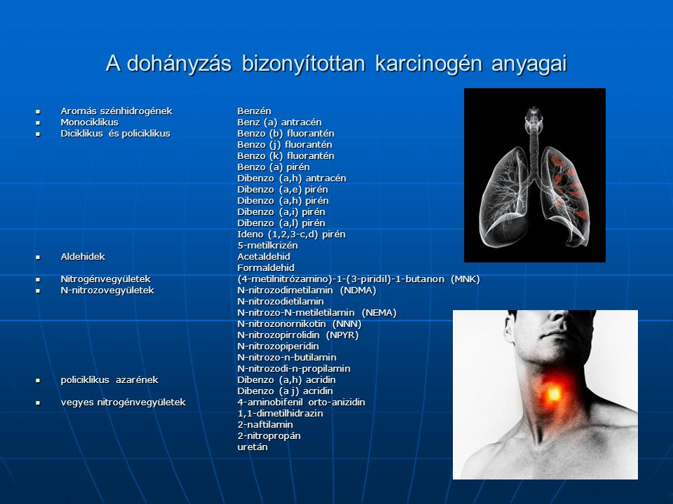 A dohányzás bizonyítottan karcinogén anyagai Aromás szénhidrogénekBenzén Aromás szénhidrogénekBenzén MonociklikusBenz (a) antracén MonociklikusBenz (a
