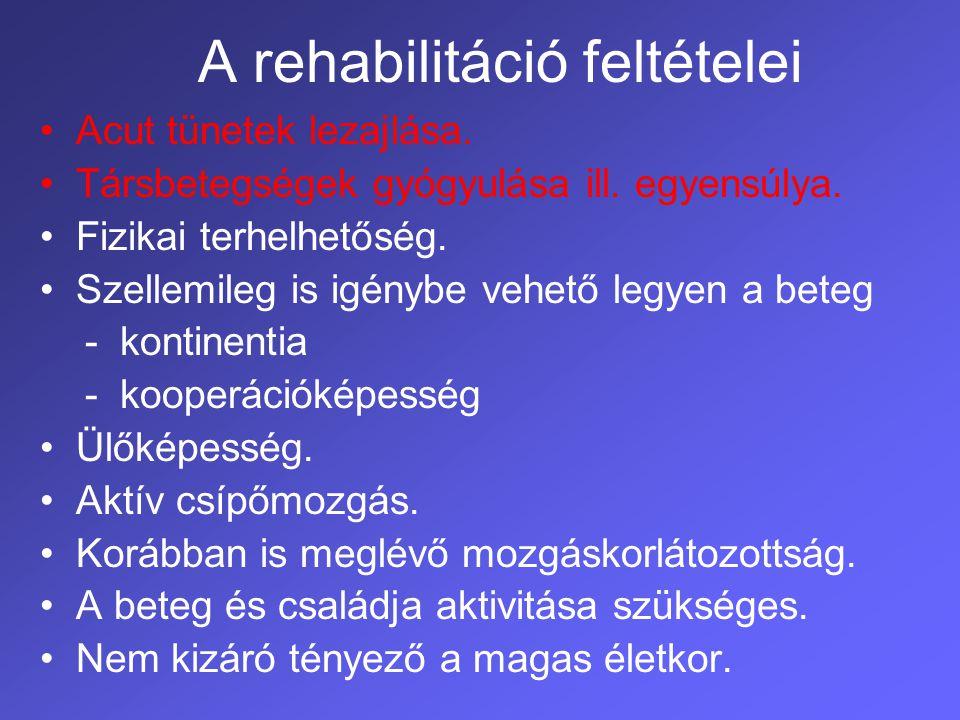 Rehabilitációs team összetétele Szakorvos Gyógytornász Nővér Fizikoterápeuta Ergoterápeuta Logopédus Pszichológus Szociális szervező Dietetikus Ortopéd műszerész AKTÍV BETEG és hozzátartozó