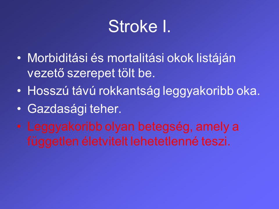 Stroke II.Halálozás az első hónapban 12-18% Halálozás az első évben 25-30%.
