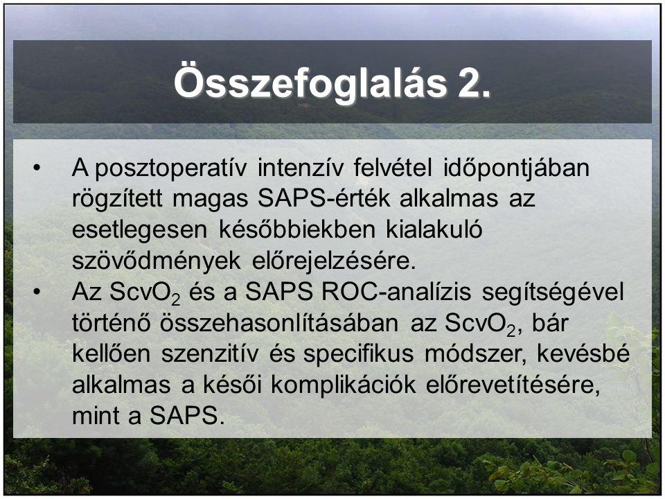 Összefoglalás 2. A posztoperatív intenzív felvétel időpontjában rögzített magas SAPS-érték alkalmas az esetlegesen későbbiekben kialakuló szövődmények