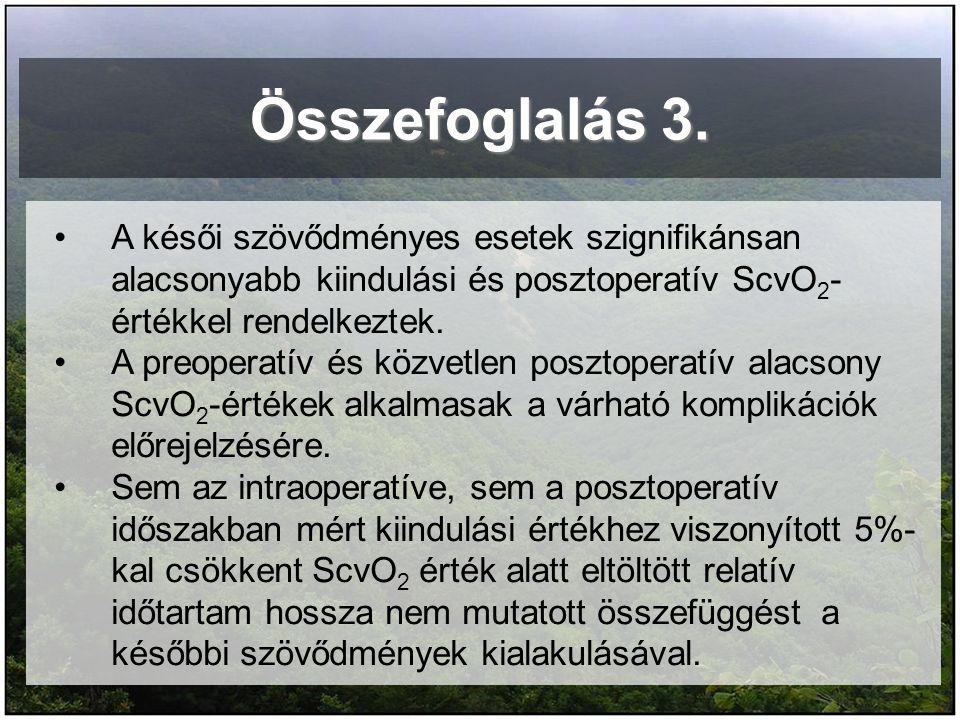 Összefoglalás 3. A késői szövődményes esetek szignifikánsan alacsonyabb kiindulási és posztoperatív ScvO 2 - értékkel rendelkeztek. A preoperatív és k