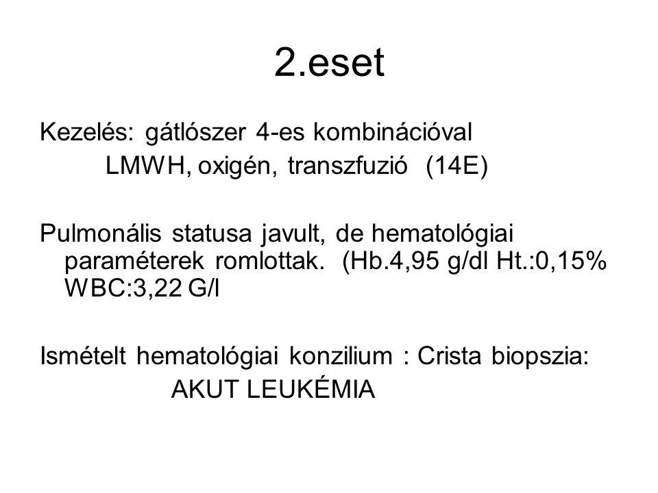 2.eset Kezelés: gátlószer 4-es kombinációval LMWH, oxigén, transzfuzió (14E) Pulmonális statusa javult, de hematológiai paraméterek romlottak. (Hb.4,9