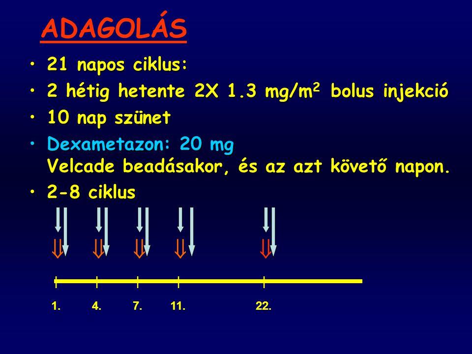 21 napos ciklus:21 napos ciklus: 2 hétig hetente 2X 1.3 mg/m 2 bolus injekció2 hétig hetente 2X 1.3 mg/m 2 bolus injekció 10 nap szünet10 nap szünet D