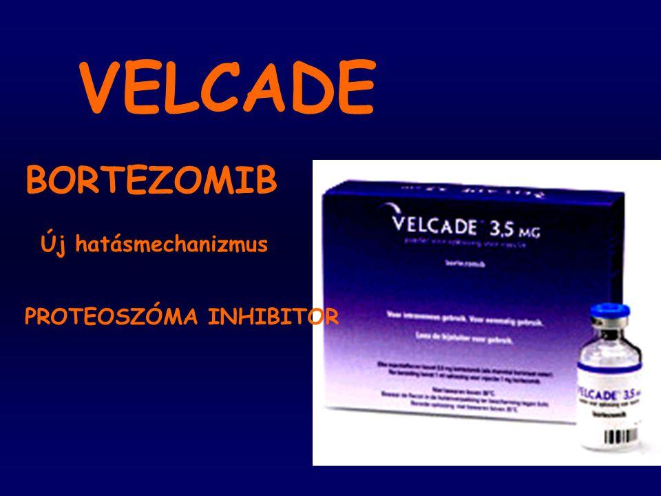 21 napos ciklus:21 napos ciklus: 2 hétig hetente 2X 1.3 mg/m 2 bolus injekció2 hétig hetente 2X 1.3 mg/m 2 bolus injekció 10 nap szünet10 nap szünet Dexametazon: 20 mg Velcade beadásakor, és az azt követő napon.Dexametazon: 20 mg Velcade beadásakor, és az azt követő napon.