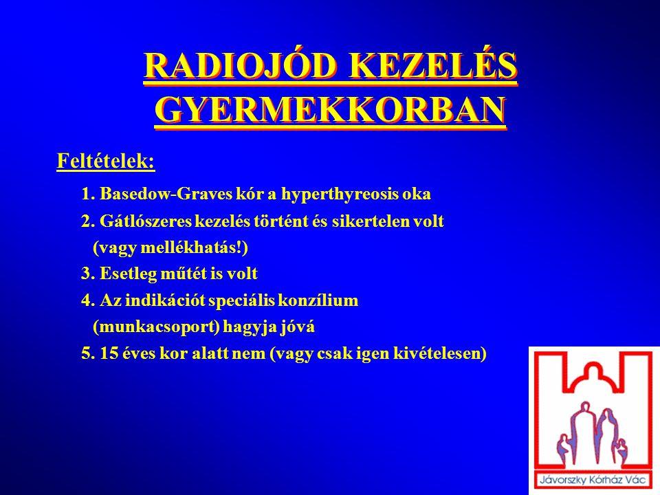 RADIOJÓD KEZELÉS GYERMEKKORBAN Feltételek: 1. Basedow-Graves kór a hyperthyreosis oka 2. Gátlószeres kezelés történt és sikertelen volt (vagy mellékha