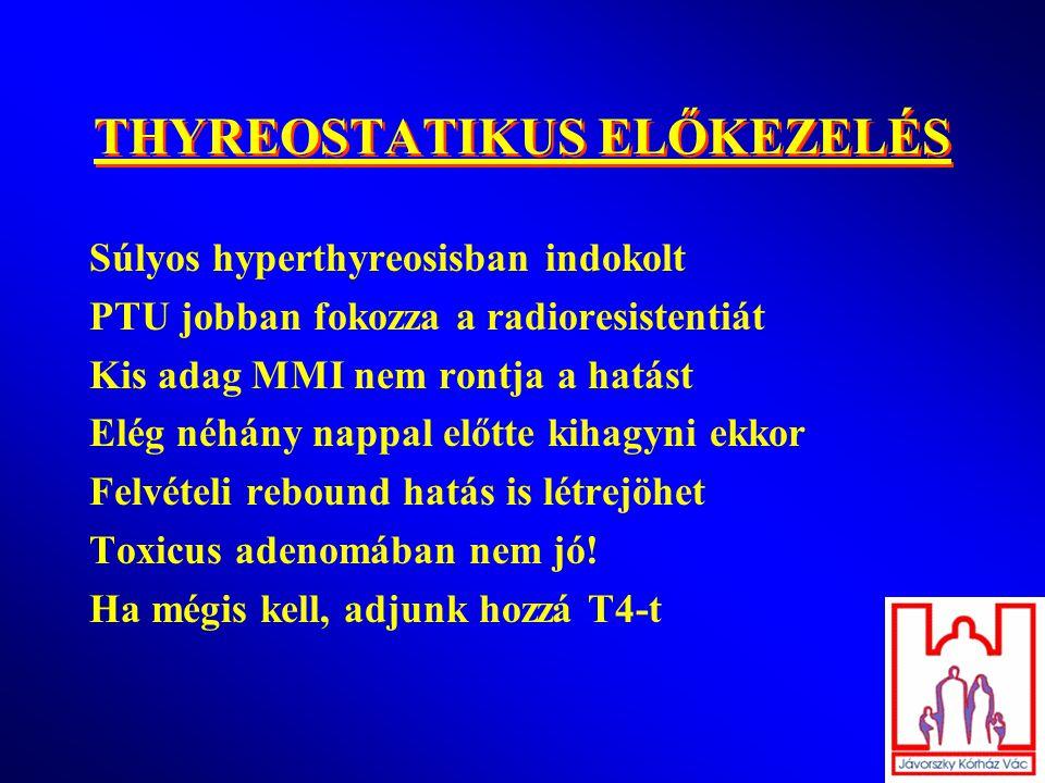 THYREOSTATIKUS ELŐKEZELÉS Súlyos hyperthyreosisban indokolt PTU jobban fokozza a radioresistentiát Kis adag MMI nem rontja a hatást Elég néhány nappal