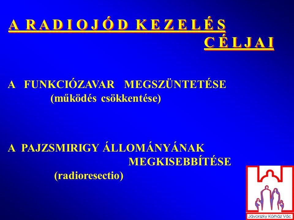 A R A D I O J Ó D K E Z E L É S C É L J A I A R A D I O J Ó D K E Z E L É S C É L J A I A FUNKCIÓZAVAR MEGSZÜNTETÉSE (működés csökkentése) A PAJZSMIRIGY ÁLLOMÁNYÁNAK MEGKISEBBÍTÉSE (radioresectio)