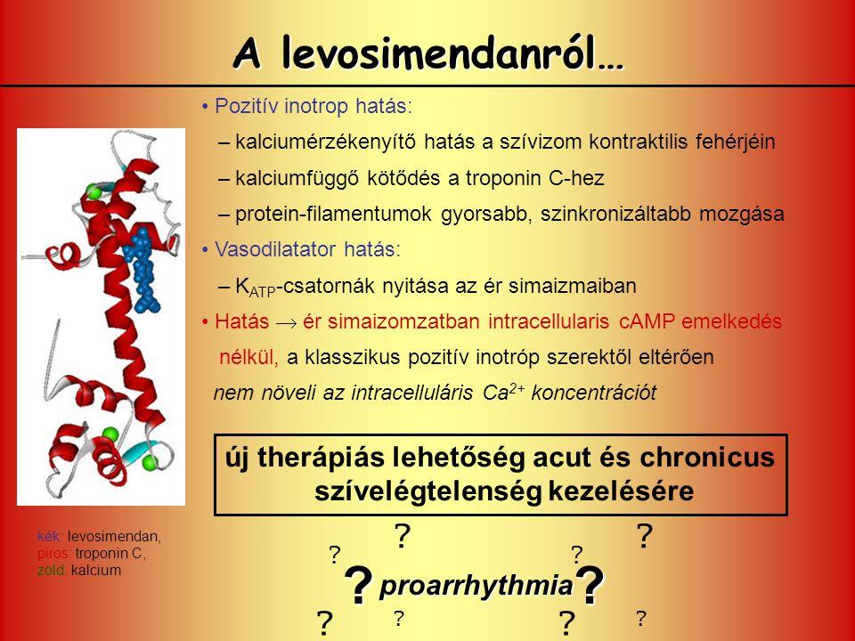 A levosimendanról… Pozitív inotrop hatás: –kalciumérzékenyítő hatás a szívizom kontraktilis fehérjéin –kalciumfüggő kötődés a troponin C-hez –protein-