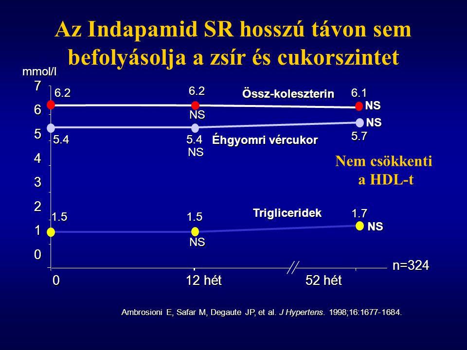 Az Indapamid SR hosszú távon sem befolyásolja a zsír és cukorszintet n=324 012 hét52 hét Ambrosioni E, Safar M, Degaute JP, et al. J Hypertens. 1998;1