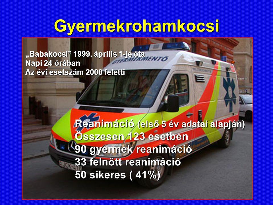 """Gyermekrohamkocsi Babakocsi"""" 1999. április 1-je óta """"Babakocsi"""" 1999. április 1-je óta Napi 24 órában Az évi esetszám 2000 feletti Reanimáció (első 5"""