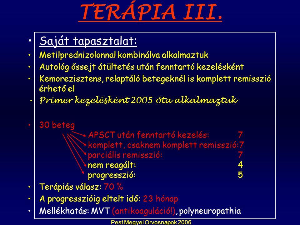 Pest Megyei Orvosnapok 2006 TERÁPIA III. Saját tapasztalat: Metilprednizolonnal kombinálva alkalmaztuk Autológ őssejt átültetés után fenntartó kezelés