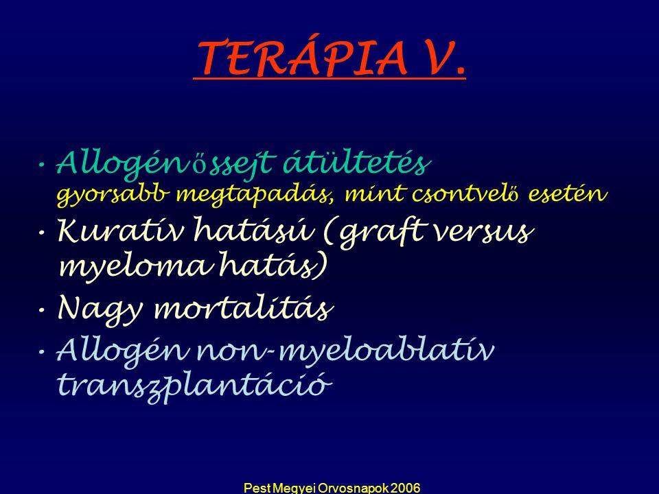 Pest Megyei Orvosnapok 2006 TERÁPIA V. Allogén ő ssejt átültetés gyorsabb megtapadás, mint csontvel ő esetén Kuratív hatású (graft versus myeloma hatá