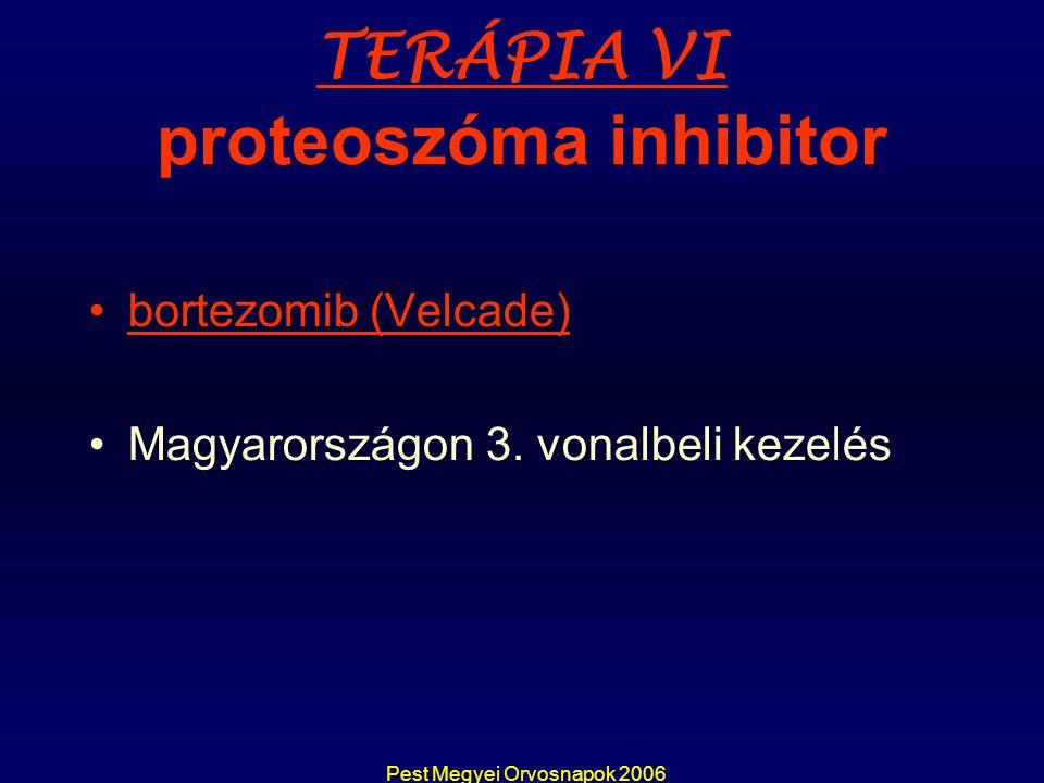 Pest Megyei Orvosnapok 2006 TERÁPIA VI proteoszóma inhibitor bortezomib (Velcade) Magyarországon 3. vonalbeli kezelés