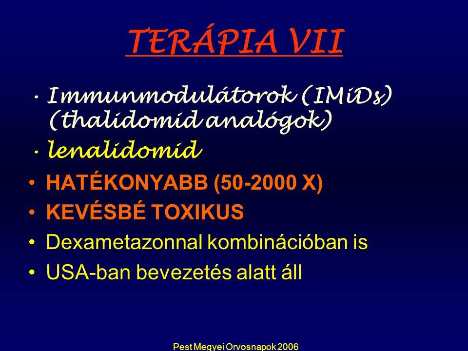 Pest Megyei Orvosnapok 2006 TERÁPIA VII Immunmodulátorok (IMiDs) (thalidomid analógok) lenalidomid HATÉKONYABB (50-2000 X) KEVÉSBÉ TOXIKUS Dexametazon
