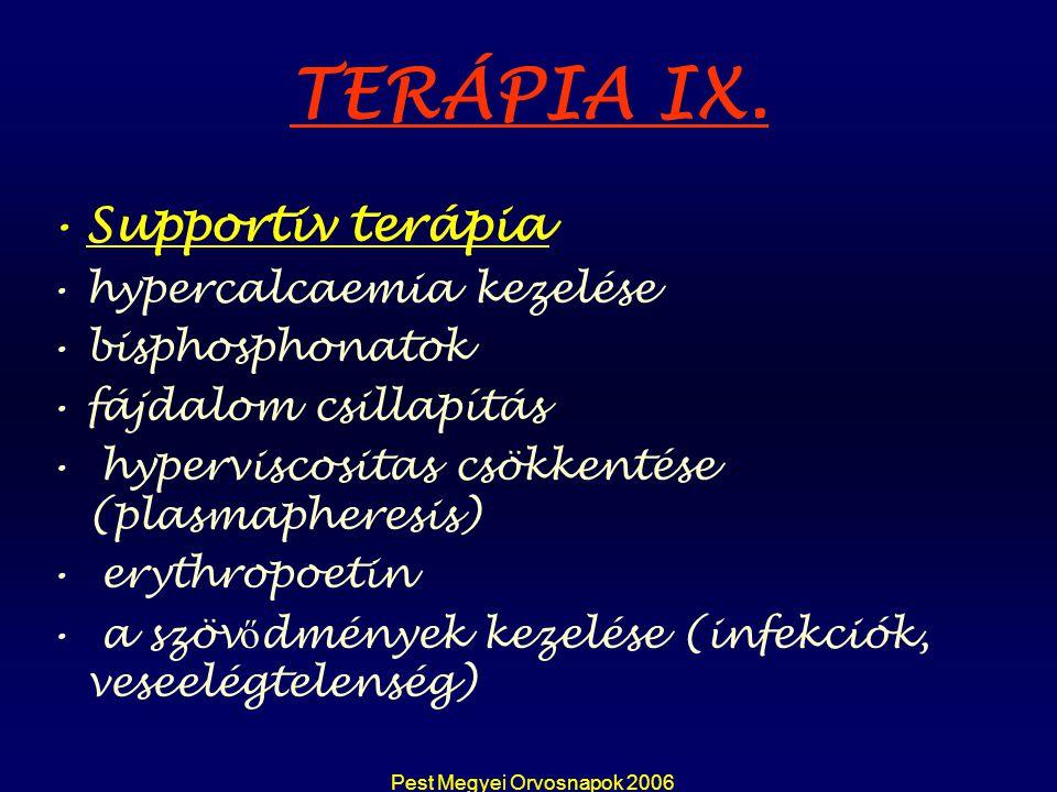 Pest Megyei Orvosnapok 2006 TERÁPIA IX. Supportiv terápia hypercalcaemia kezelése bisphosphonatok fájdalom csillapítás hyperviscositas csökkentése (pl