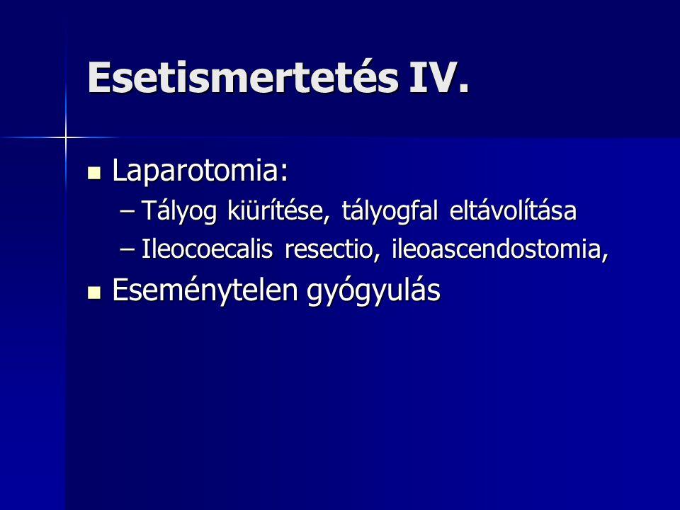 Esetismertetés IV. Laparotomia: Laparotomia: –Tályog kiürítése, tályogfal eltávolítása –Ileocoecalis resectio, ileoascendostomia, Eseménytelen gyógyul