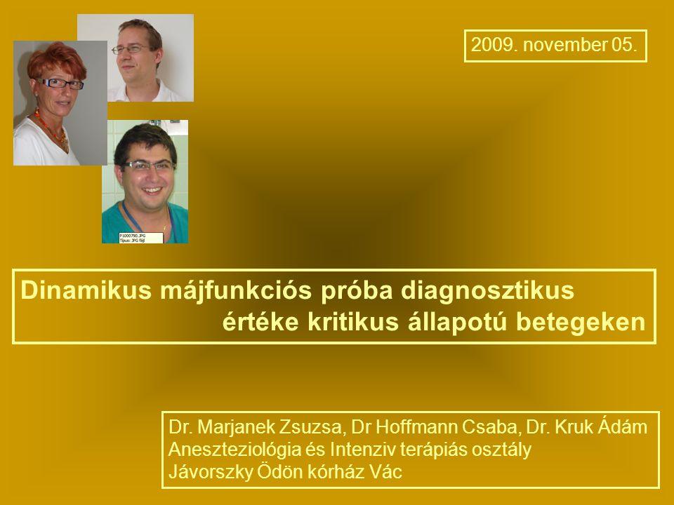 Dinamikus májfunkciós próba diagnosztikus értéke kritikus állapotú betegeken 2009. november 05. Dr. Marjanek Zsuzsa, Dr Hoffmann Csaba, Dr. Kruk Ádám