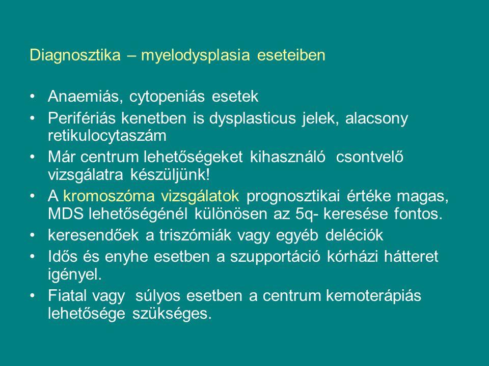 Diagnosztika – myelodysplasia eseteiben Anaemiás, cytopeniás esetek Perifériás kenetben is dysplasticus jelek, alacsony retikulocytaszám Már centrum l