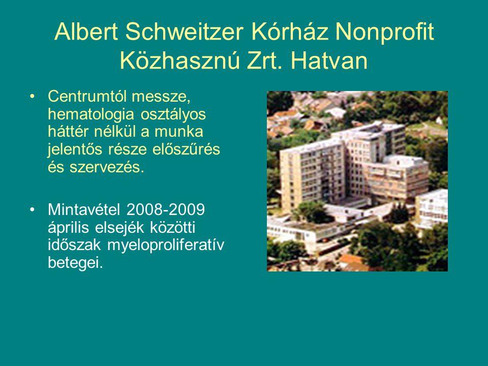 Albert Schweitzer Kórház Nonprofit Közhasznú Zrt. Hatvan Centrumtól messze, hematologia osztályos háttér nélkül a munka jelentős része előszűrés és sz