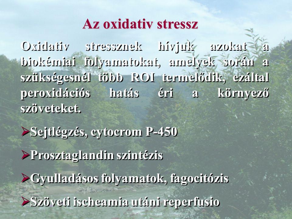 Az oxidativ stressz Oxidativ stressznek hívjuk azokat a biokémiai folyamatokat, amelyek során a szükségesnél több ROI termelődik, ezáltal peroxidációs hatás éri a környező szöveteket.